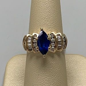 Jewelry - 14K YG Synthetic Sapphire And Diamond Ring